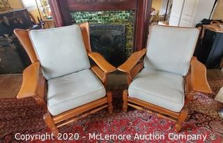 Cushman Solid Wood His and Hers Paddle Back Arm Chairs