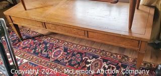 "Mid Century  ""Drexel"" Triune Mahogany Burl Coffee Table"