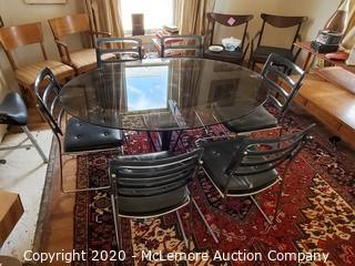 Chromecast Acrylic and Glass Dining Table with 6 Chairs