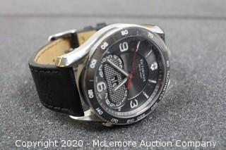 """Victorinox Unisex 241616 """"Chrono Classic"""" Stainless Steel Watch with Black Leather Band"""