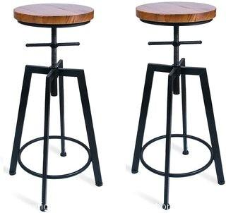ANXITIEGONGYI Best Bar Stools/Chairs for Bistro Pub Breakfast Kitchen Coffee house, Swivel Metal Round Wood Seat Bar/Counter Height Adjustable, Set of 2, Black