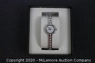 BULOVA White Mother of Pearl Dial Ladies Crystal Watch
