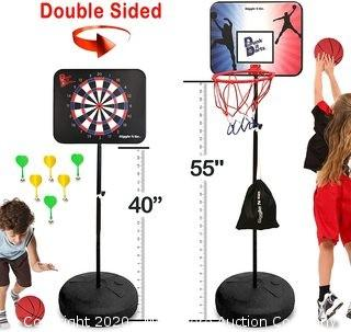 GIGGLE N GO Dunk it Darts Magnetic Dart Board and Basketball Game - 2 Fun Kids Games in 1