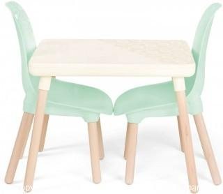 B. spaces by Battat Kids Furniture Set 1 Craft Table & 2 Kids Chairs with Natural Wooden Legs (Ivory and Mint)