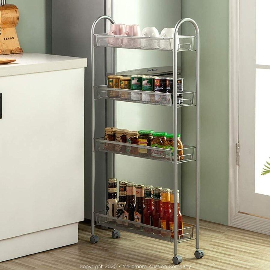 Mclemore Auction Company Auction New Large And Small Appliances Item Singaye 4 Tier Slim Rolling Cart Kitchen Storage Organizer Mesh Wire Storage Carts With Lockable Wheels Rolling Slim Cart 4 Tier Silver