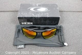 Oakley Triggerman OO9266-03 Polished Black Plastic Square Ruby Iridium Lens Sunglasses