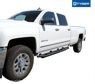 Tyger Auto TG-AM2C20128 Textured Black Star Armor Running Boards Side Step Rails Nerf Bars Compatible with 2007-2018 Chevy Silverado/GMC Sierra 1500 & 2007-2019 2500/3500HD Crew Cab