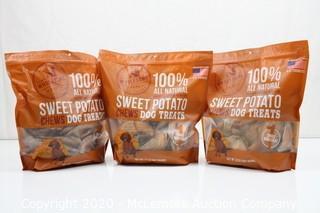 (3) Wholesome Pride Sweet Potato Chews Dog Treats, 32 oz - All Natural Healthy - Veg