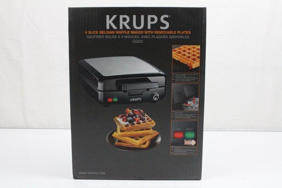 KRUPS Belgian Waffle Maker Waffle Maker with Removable Plates Black 4 Slices