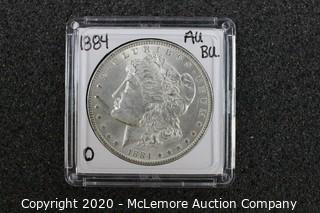 Morgan Silver Dollar AU/BU Graded 1884-O