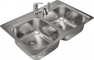 "Kindred KFG802SNKIT 20-Gauge Stainless Steel Double Bowl Topmount 8"" Deep Kitchen Sink Kit"