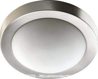 "Quorum International Ceiling Mount 11"" 2-Light Opal Glass Flush Mount in Satin Nickel"