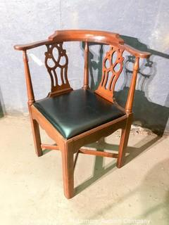 Wooden Decorative Corner Chair with Leather Seat