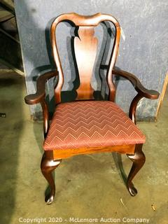 Wooden Arm Chair wit Upholstered Seat