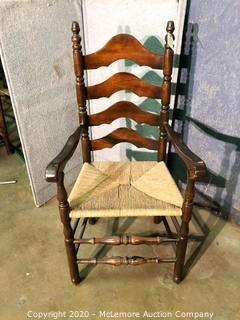 Wooden Ladder Back Cane Seat Arm Chair