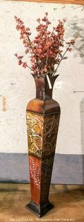 Decorative Metal Floor Vase with Floral Arrangement