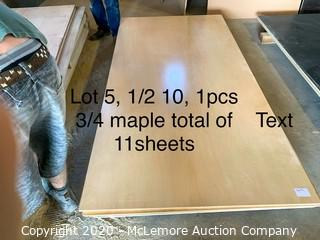 11 Sheets Pre finished Maple Plywood 10 Sheets 1/2 4x8, 1 Sheet 3/4 4x8