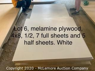 "12 Sheets 4x8 Melamine 7 Sheets 1/2"", 5 sheets 1/4"""