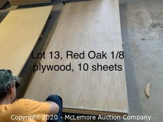 "10 Sheets 1/8"" Red Oak Plywood"