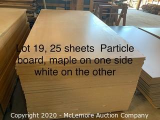 25 Sheets Particle Board White on one side Maple on the other