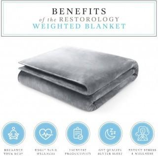 "Restorology Weighted Blanket - Ultra Plush Blanket - Multiple Sizes for Children & Adults - 18LB - 60"" x 80"""