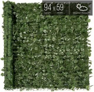 Artificial Faux Ivy Hedge Leaf and Vine Privacy Fence Wall Screen, Green