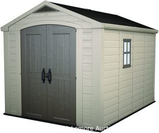 Keter Factor 8x11 Foot Large Resin Outdoor Shed with Floor for Patio Furniture, Lawn Mower, and Bike Storage