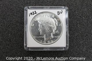 Peace Silver Dollar 1922 BU Graded