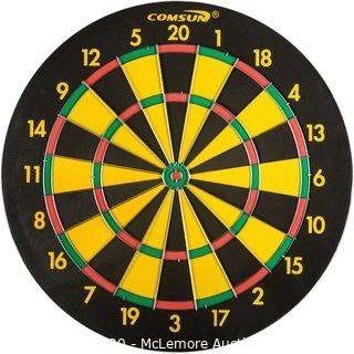 COMSUN Steel Tip Dart Board, 18 inch Scoreboard Leisure Sport Games Yellow