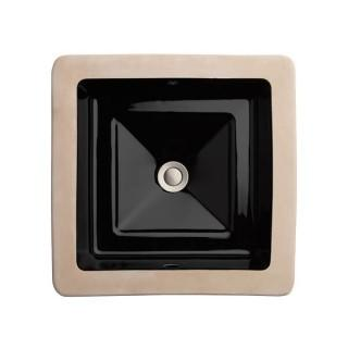 American Standard Pop Square Under Counter Bathroom Sink,Vitreous China, Black