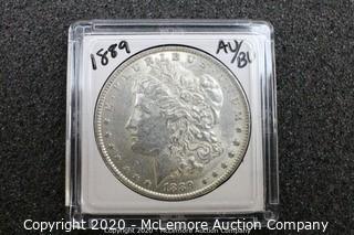 Morgan Silver Dollar 1889 AU/BU Graded