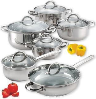 12-Piece Stainless Steel Cookware Set, Silver