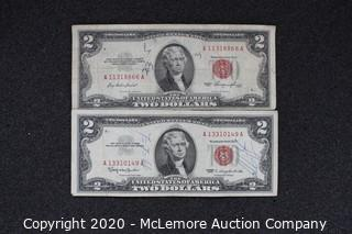 (2) $2 Red Seal Certificates (1953-1953)