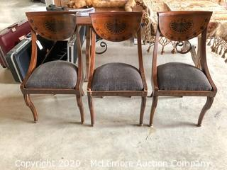 (3) Wooden Chairs with Upholstered Seats