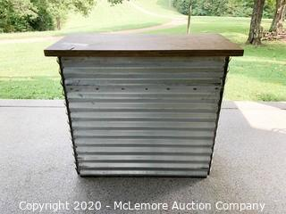Metal Bar Table with Wood Top