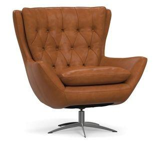 Wells Leather Swivel Armchair with Brushed Nickel Base, Polyester Wrapped Cushions, Leather Vintage Caramel