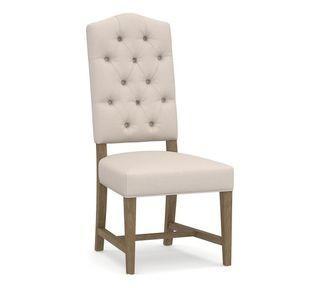 Ashton Upholstered Tufted Dining Side Chair, Belgian Gray Frame , Belgian Linen Natural