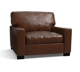 """Turner Square Arm Leather Small Armchair 37"""", Down Blend Wrapped Cushions, Statesville Molasses"""