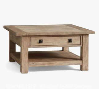 """Benchwright Square Wood Coffee Table with Drawer, Seadrift, 36""""L"""