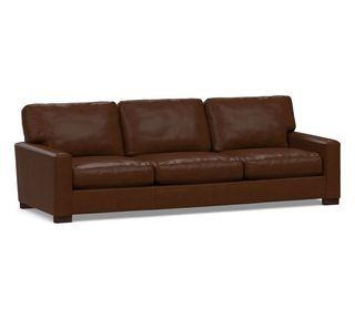 """Turner Square Arm Leather Grand Sofa-3-Seater 104"""", Down Blend Wrapped Cushions, Legacy Chocolate"""