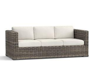 """Huntington All-Weather Wicker Square Arm 82.5"""" Sofa with Cushions, Cream"""