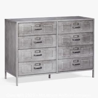 Locker 8-Drawer Wide Dresser, Gray Metal