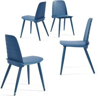 Dining Chairs Set of 4, Mid-Century Modern Chairs, Lounge Plastic Chair, Blue