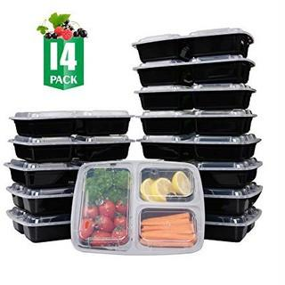 SAMROG 14-Pack 3 Compartment Bento Lunch Boxes with Lids Reusable, Stackable, Microwave, Dishwasher & Freezer Safe, BPA Free - Meal Prep, Portion Control, Food Storage Containers (32oz)