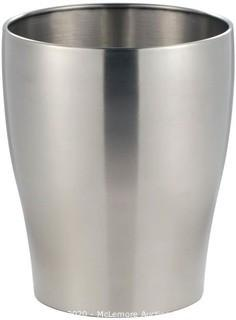 iDesign Avery Wastebasket Trash Can for Bathroom, Kitchen, Office - Brushed Stainless Steel
