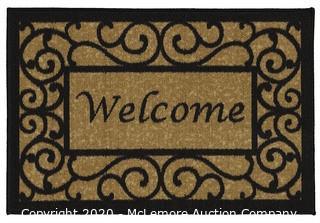 Ottohome Collection Welcome Door Mat Rug, Beige