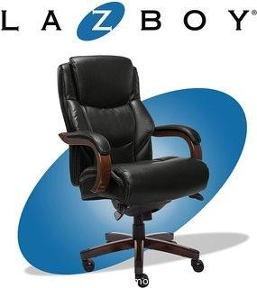 La-Z-Boy Delano Big & Tall Executive Office Chair | High Back Ergonomic Lumbar Support, Bonded Leather, Black with Mahogany Wood Finish | 45833A MSRP: $349.99