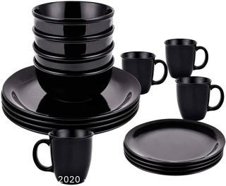 16 Piece Dishes Dinnerware Sets, Black Ceramic Dinnerware Set, Porcelain Dinnerware Sets Including Dinner Plates Dessert Plates Fruit Bowls and Mugs for Everyday Use, Service for 4