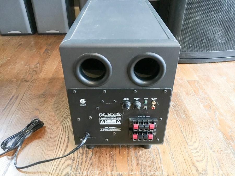 mclemore auction company - auction: appliances, furnishings, fixtures,  flooring and household items item: polk audio powered subwoofer