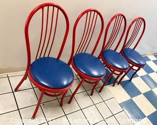 (4) Metal Restaurant Dining Chairs with Upholstered Seats